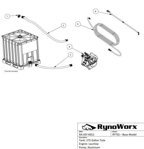 Tote Spray System, Launtop Engine, Aluminum Pump Parts