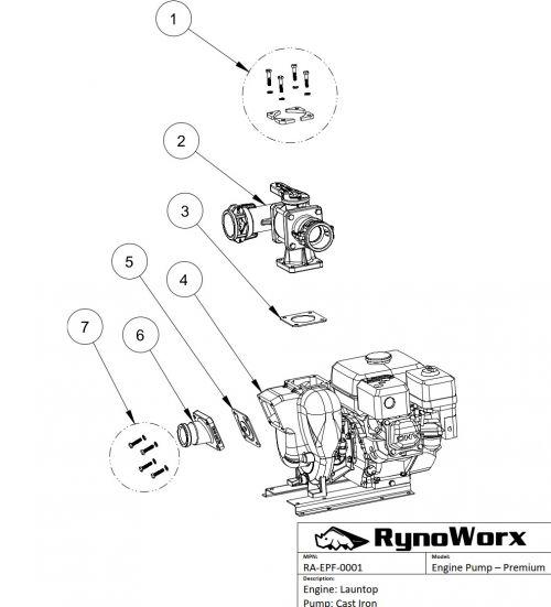 Launtop Engine, Cast Iron Pump Parts