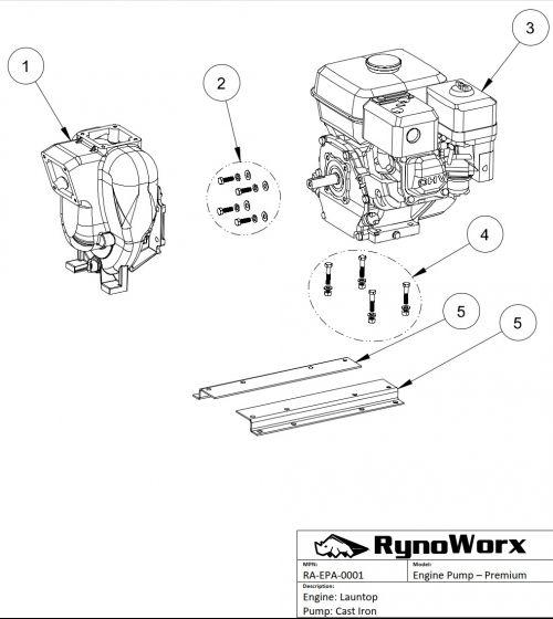Launtop Engine, Cast Iron Pump Base Parts