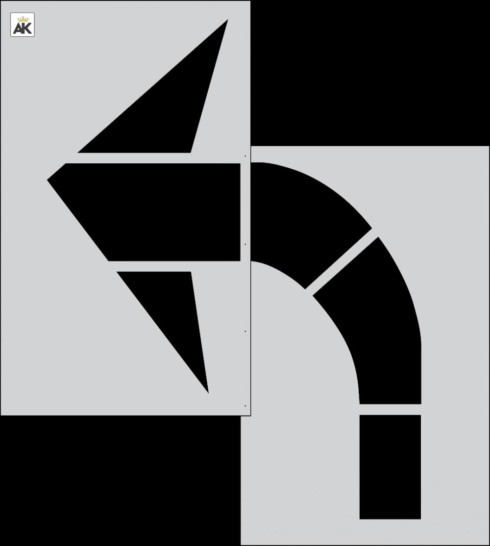 """96"""" FHWA/DOT Turn Arrow Stencil"""