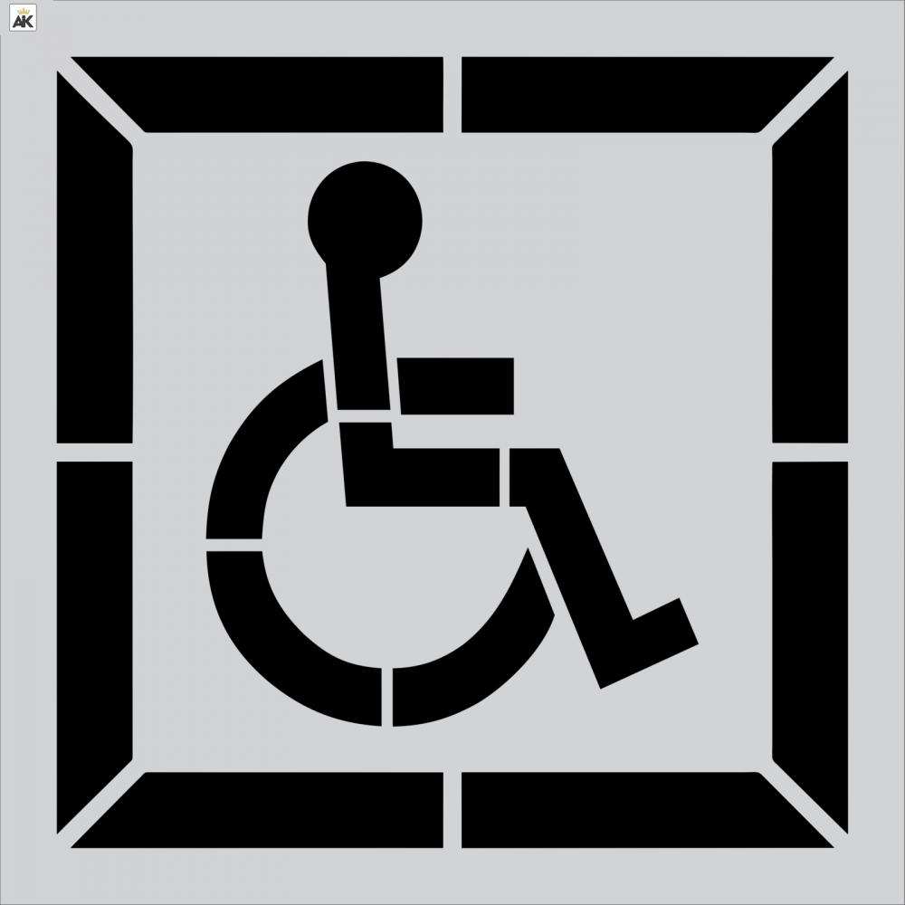 """30"""" DOT Handicap Stencil w/ Background"""