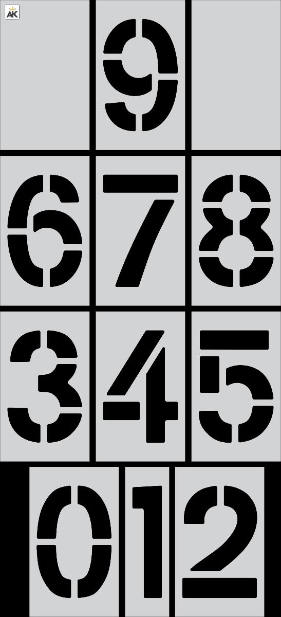"""36"""" x 16""""  Number Kit Stencil 12 pc Kit"""