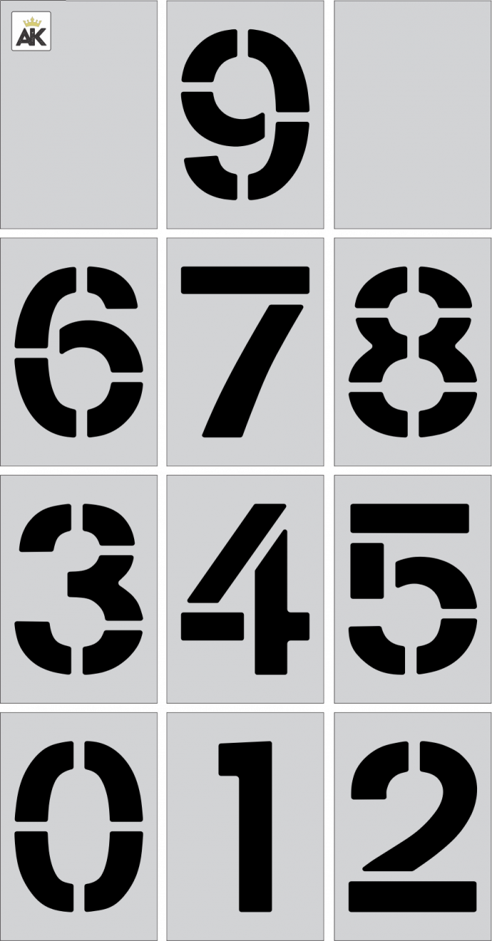 """3"""" Number Kit for Curbs Stencil"""