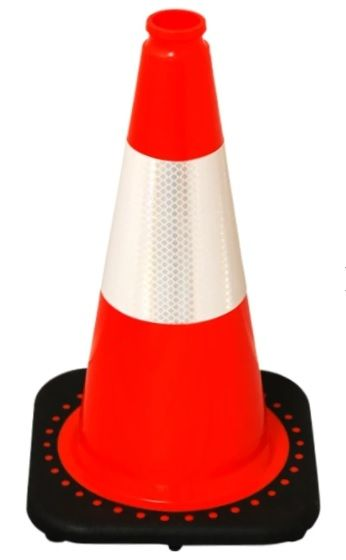 """Orange 18"""" Traffic Cone with Black Base (with 1 - 6"""" Reflective Collar)"""