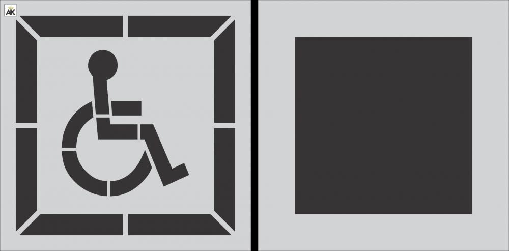 """28"""" DOT Handicap Stencil w/ Background"""