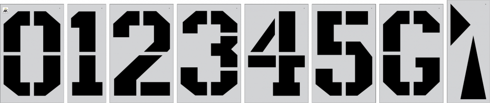 """72""""x48"""" ATHLETIC FONT Football Number Kit Stencil"""