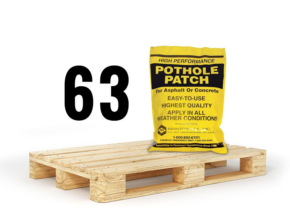 63 bags of pothole patch full pallet