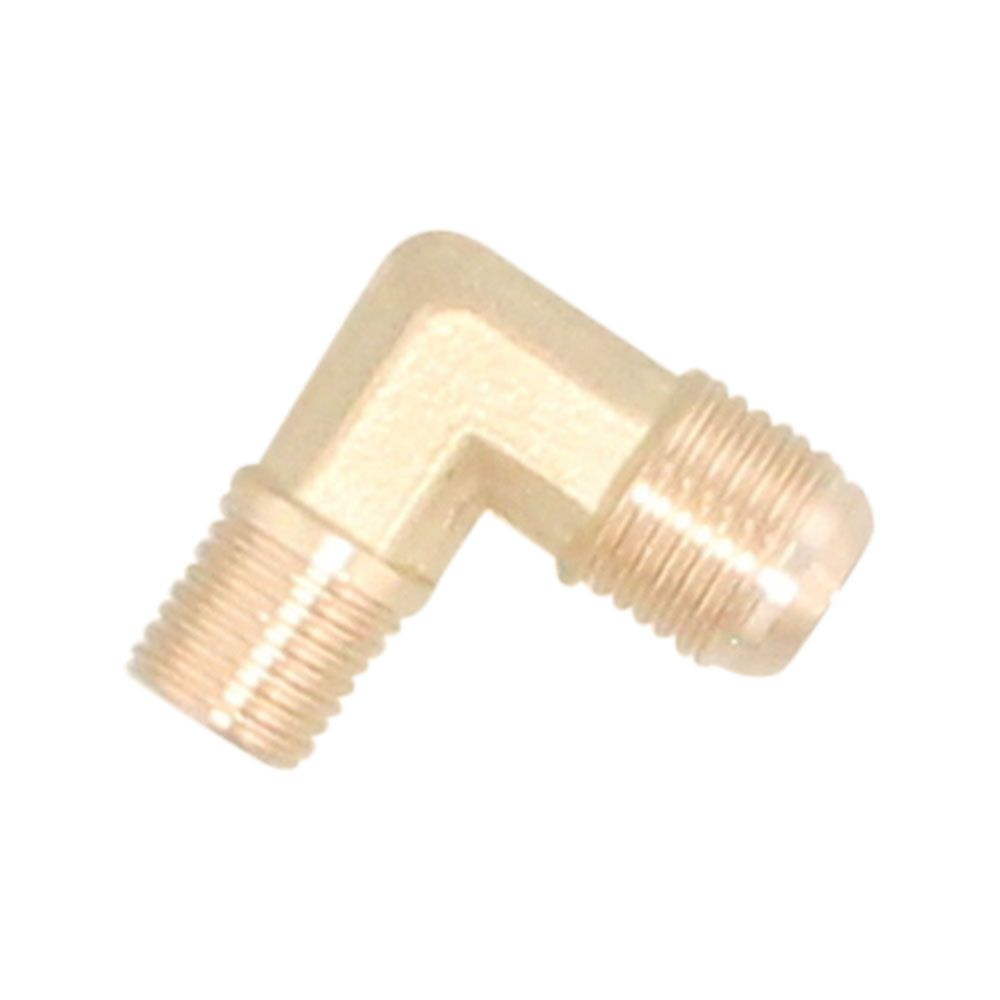 """Brass Elbow - 3/8"""" Male Gas Flare to 1/4"""" Male NPT"""