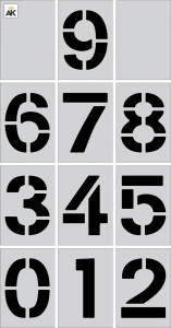 """4"""" Curb Number Kit 0-9 12pc"""
