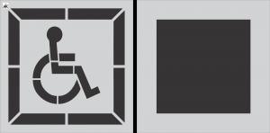 """28 """" DOT Handicap Stencil w/Background 2 pc"""