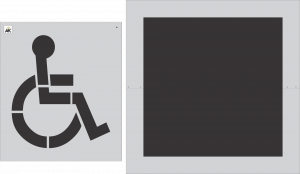 "39"" DOT 2-pc. Handicap Stencil w/ Square Background"