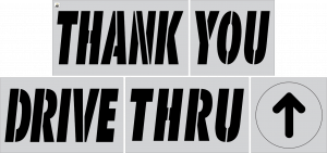 McDonald's 6-pc. Stencil Kit (Thank You Drive Thru and Arrow)